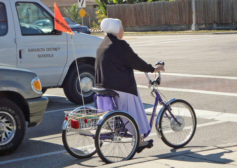 Amish Lady on Tricycle